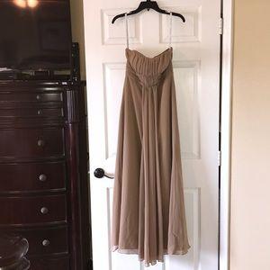 Alfred Angelo Long Chiffon Harvest Gold Dress